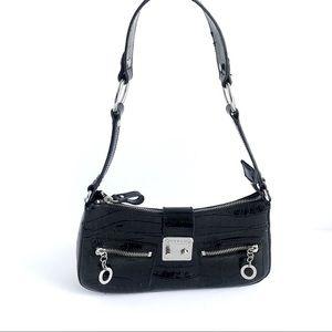 Guess Vintage Black Faux Leather Croc Baguette Bag